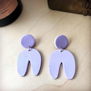 Handmade Polymer Clay Arch Statement Earrings